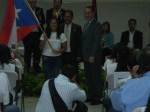 Abanderada Delegacion CCCAN Costa Rica 2013 con Hon. Representantes Tony Soto y Jesus Santa, pasado Vice Presidente FPN